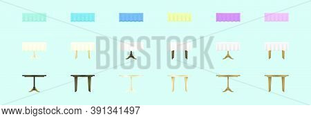 Set Of Banquet Table Cartoon Icon Design Template With Various Models. Vector Illustration Isolated