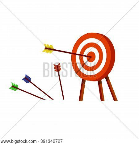 Target For Arrows. Business Concept Several Attempts. Shooting And Championship. Hit And Miss On Tar