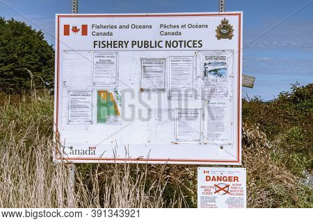 Campbell River, Canada - October 7, 2020: View Of Sign Fishery Public Notices By Fisheries And Ocean