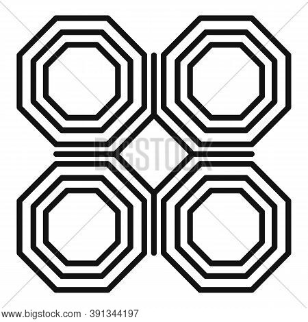 Ornamental Paving Icon. Outline Ornamental Paving Vector Icon For Web Design Isolated On White Backg