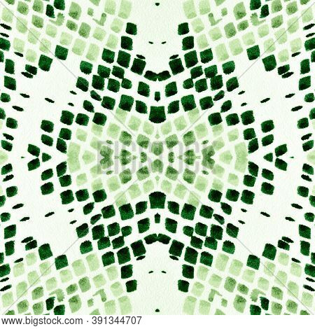 Seamless Predator Pattern. Serpent Leather Animal Print. Exotic Fashion Wallpaper. Green Color Rappo