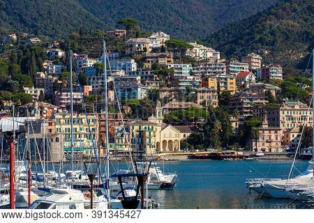Rapallo, Italy. October 20, 2020: Panoramic View Of The Famous Touristic City Of Rapallo In Northern