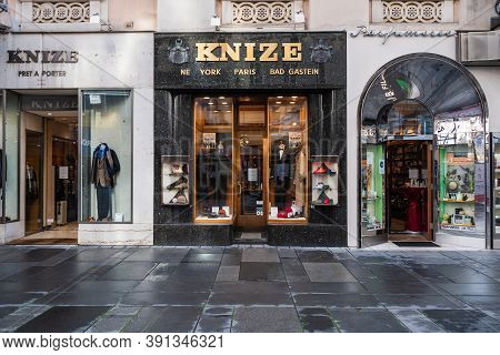Vienna, Austria - October 25 2020: Knize And Comp Tailor And Clothing Store Front Designed By Adolf
