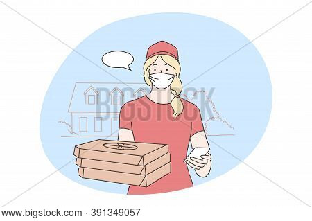 Quarantine, Coronavirus Infection, Concept. Young Woman Supplier Caterer Cartoon Character Standing
