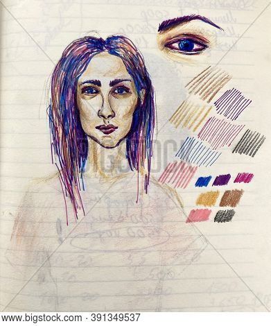 Hand Drawn Portrait Of A Woman. Ladys Head With Bright Purple And Pink Hair. Ball Pen Illustration