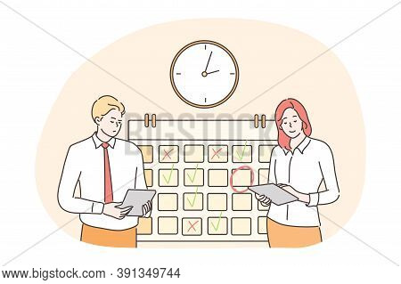 Time Management, Multitasking, Efficiency, Plan, Teamwork, Business Concept. Business People Employe