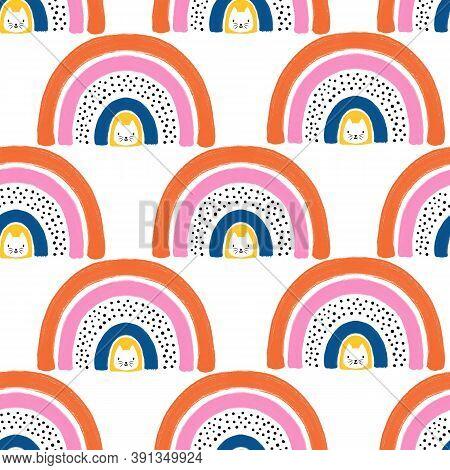 Rainbow Cats Seamless Kids Pattern. Cute Hand Drawn Scandinavian Style Children Illustration. Kitty
