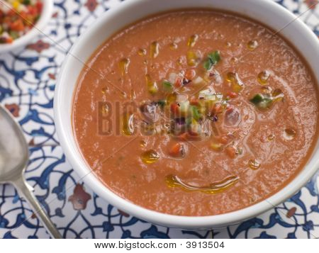 Bowl Of Chilled Gazpacho Soup