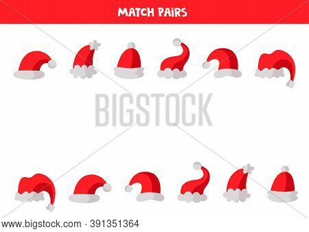 Educational Logical Game For Kids. Match Pairs Of Caps,