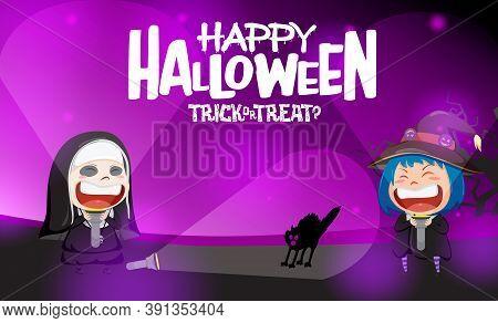 Halloween Kids Party Vector Background Design. Happy Halloween Text With Kid Costume Horror Characte