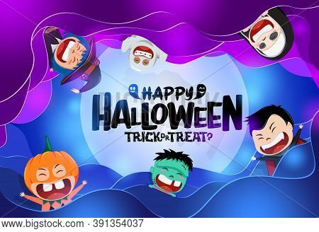 Halloween Vector Background Concept. Happy Halloween Text In Moon Background With Scary Cute Charact