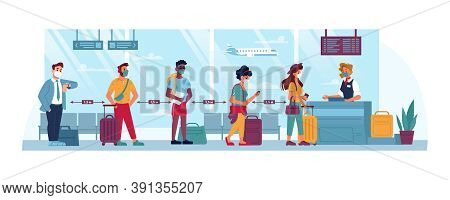 Airport, People In Masks, Travel And Social Distance, Coronavirus Safety Cartoon Flat. People At Air