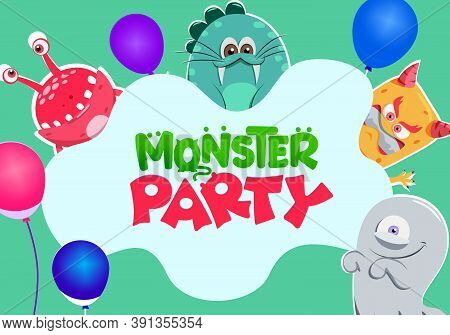 Monster Party Celebration Vector Banner Design. Monster Party Text With Creepy Creature Characters L