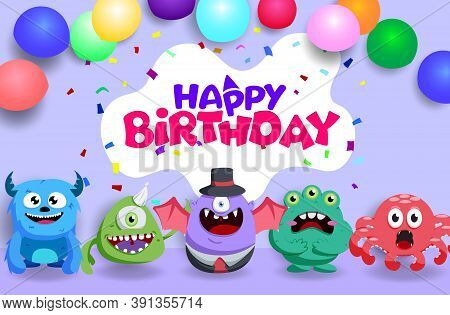 Birthday Vector Background Template. Happy Birthday Text With Party Elements Like Confetti And Ballo