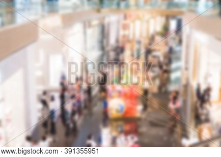 Blurred Of Crowd People With Light Bokeh Event Exhibition Business And Defocused Convention Exhibit