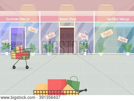 Mall During Seasonal Sale Flat Color Vector Illustration. Shopping With Discount. Purchases And Bags