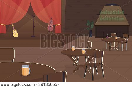 Music Concert In Pub Flat Color Vector Illustration. Live Musical Performance In Cafe. Restaurant Wi
