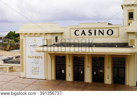 Biarritz , Aquitaine / France - 10 20 2020 : Biarritz Casino Historical Building Play Money Slot Mac