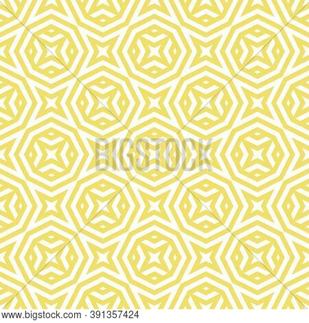 Vector Abstract Seamless Pattern With Geometric Shapes, Stripes, Lines, Stars, Octagons. Yellow And