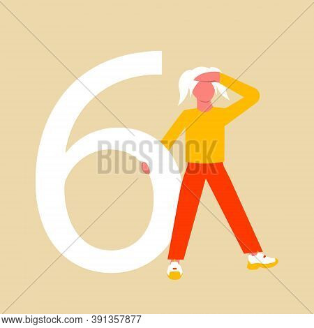 Number Six. A Girl With Ponytail In Search Of Self-identification. The Girl Is Holding On Large Numb