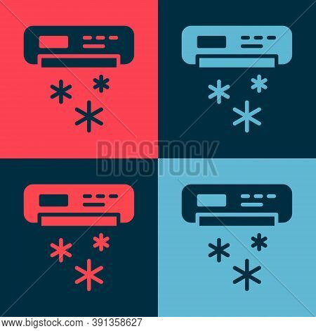 Pop Art Air Conditioner Icon Isolated On Color Background. Split System Air Conditioning. Cool And C
