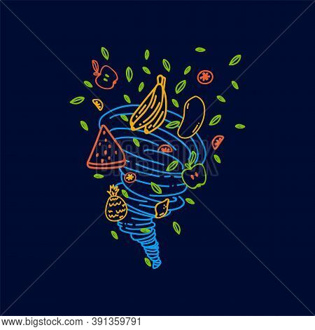 Illustration Of A Hand-drawn Fruit Milkshake. Cartoon Vector Concept Of Fruit Mix In The Style Of Do