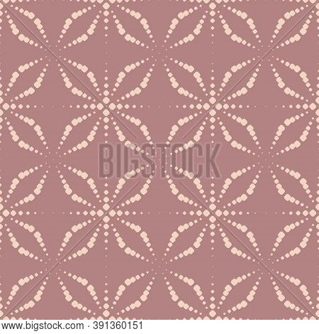 Vector Seamless Pattern With Dots. Simple Pink Geometric Texture With Dotted Halftone Crosses, Flora