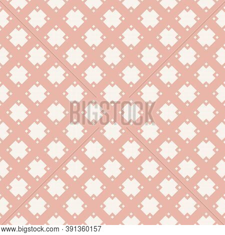 Vector Minimalist Geometric Seamless Pattern With Diamonds, Rhombuses, Squares, Grid, Net, Lattice,