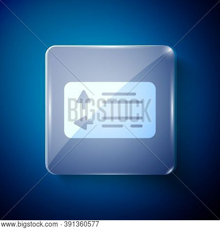 White Road Traffic Sign. Signpost Icon Isolated On Blue Background. Pointer Symbol. Street Informati