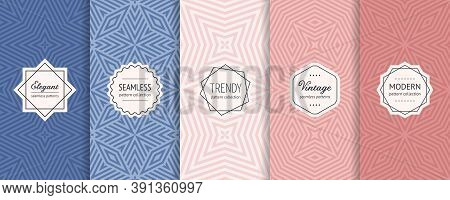 Colorful Vector Geometric Seamless Pattern Collection. Set Of Simple Background Swatches With Elegan