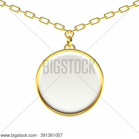 Blank Round Medallion On A Gold Chain Isolated On White. 3d Illustration