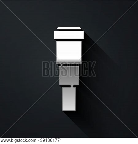 Silver Spyglass Telescope Lens Icon Isolated On Black Background. Sailor Spyglass. Long Shadow Style