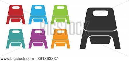Black Baby Potty Icon Isolated On White Background. Chamber Pot. Set Icons Colorful. Vector