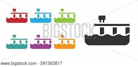 Black Beach Pier Dock Icon Isolated On White Background. Set Icons Colorful. Vector