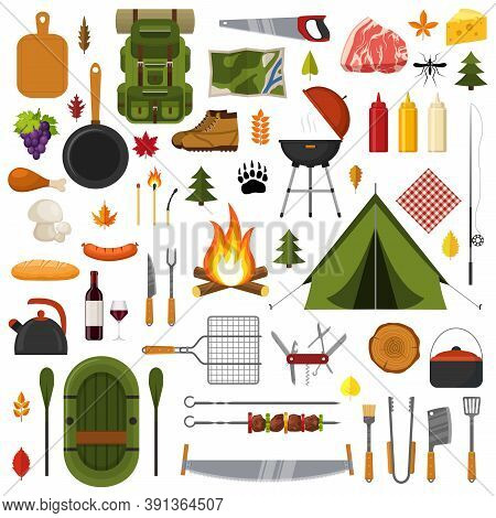 Camping And Hiking Elements. Forest Hike Icon Set. Camp Gear Backpacker Collection Tourist Tent, Bac