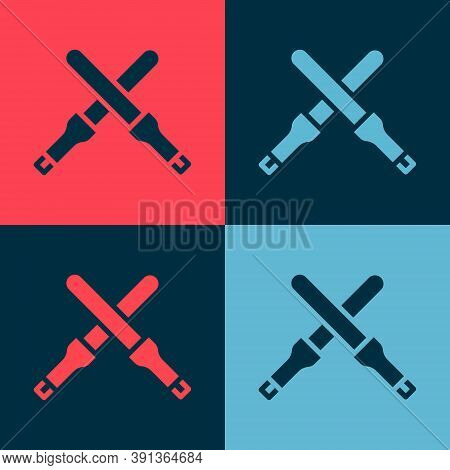 Pop Art Marshalling Wands For The Aircraft Icon Isolated On Color Background. Marshaller Communicate