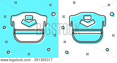 Black Line Pilot Hat Icon Isolated On Green And White Background. Random Dynamic Shapes. Vector