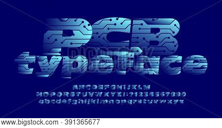 Pcb Alphabet Font. Uppercase And Lowercase Letters And Numbers. Circuit Board Hi-tech Vector Typefac