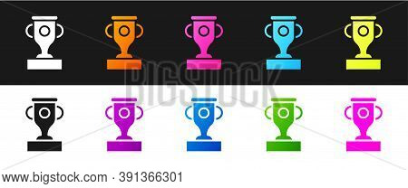 Set Award Cup Icon Isolated On Black And White Background. Winner Trophy Symbol. Championship Or Com