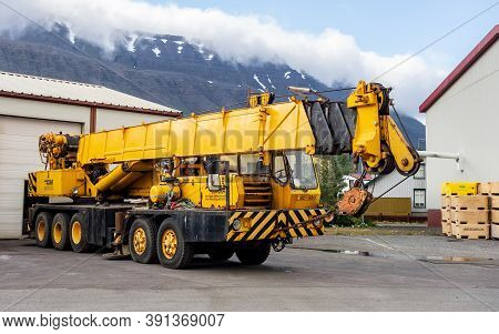 Isafjordur, Iceland - July 7, 2014: Grove Tms 475 Crane Vehicle With 5 Axes Parked In Harbour In Isa