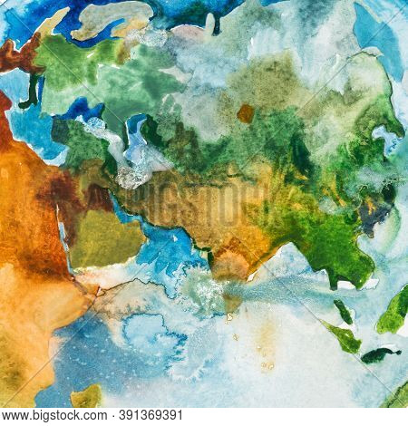 Watercolor Map Of Asia, Europe And Africa. Aquarelle Illustration.