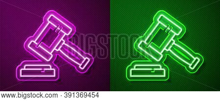 Glowing Neon Line Judge Gavel Icon Isolated On Purple And Green Background. Gavel For Adjudication O