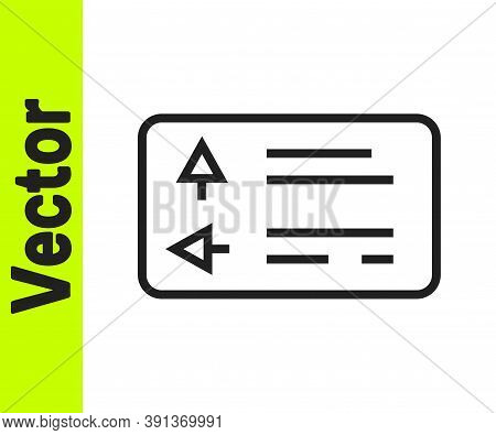 Black Line Road Traffic Sign. Signpost Icon Isolated On White Background. Pointer Symbol. Street Inf