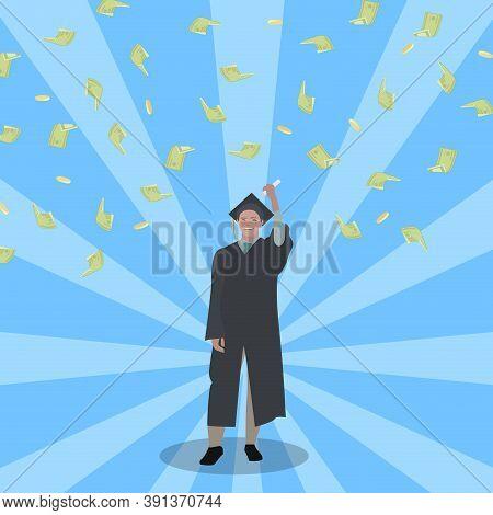 Happy Student Win Grant To Study. Scholarship Concept. Vector Student Enjoying Money Scholarship To
