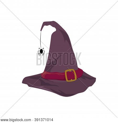 Hat With Hanging Black Spider, Magician Hat Halloween, Helloween Magic Hat For Carnaval, Vector Illu