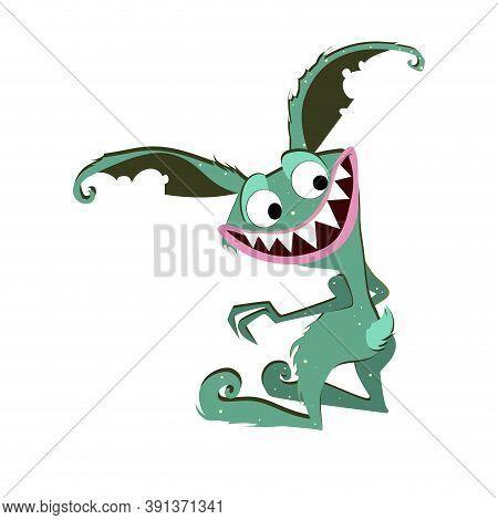 Eared Gremlin Smiling Isolated On White Background. Vector Monster Goblin Character, Alien Gremlin,