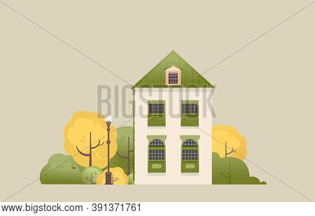 Vector Illustration Of A Two-storey House With A Small Courtyard Trees Bench With A Lantern In Retro