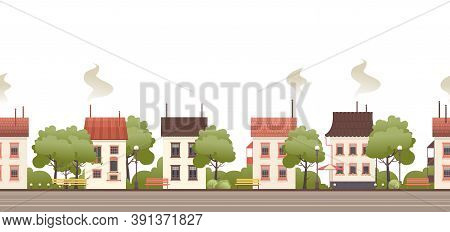 Vector Illustration Of A Street With Small Cozy Houses And Courtyards With Trees