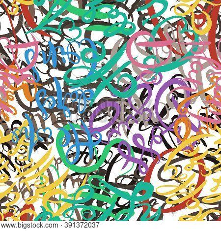 Graffiti Background Seamless Pattern. Hand Style Tagging