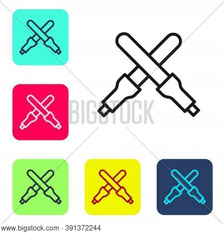 Black Line Marshalling Wands For The Aircraft Icon Isolated On White Background. Marshaller Communic